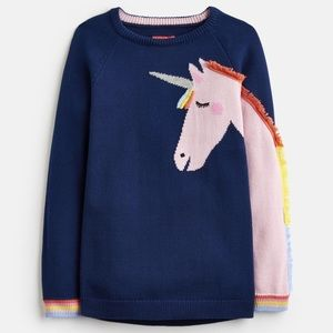 Child Unicorn Horse Knit Sweater Top navy girls